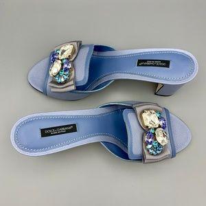 NIB DOLCE & GABBANA Blue Leather Crystal Slides